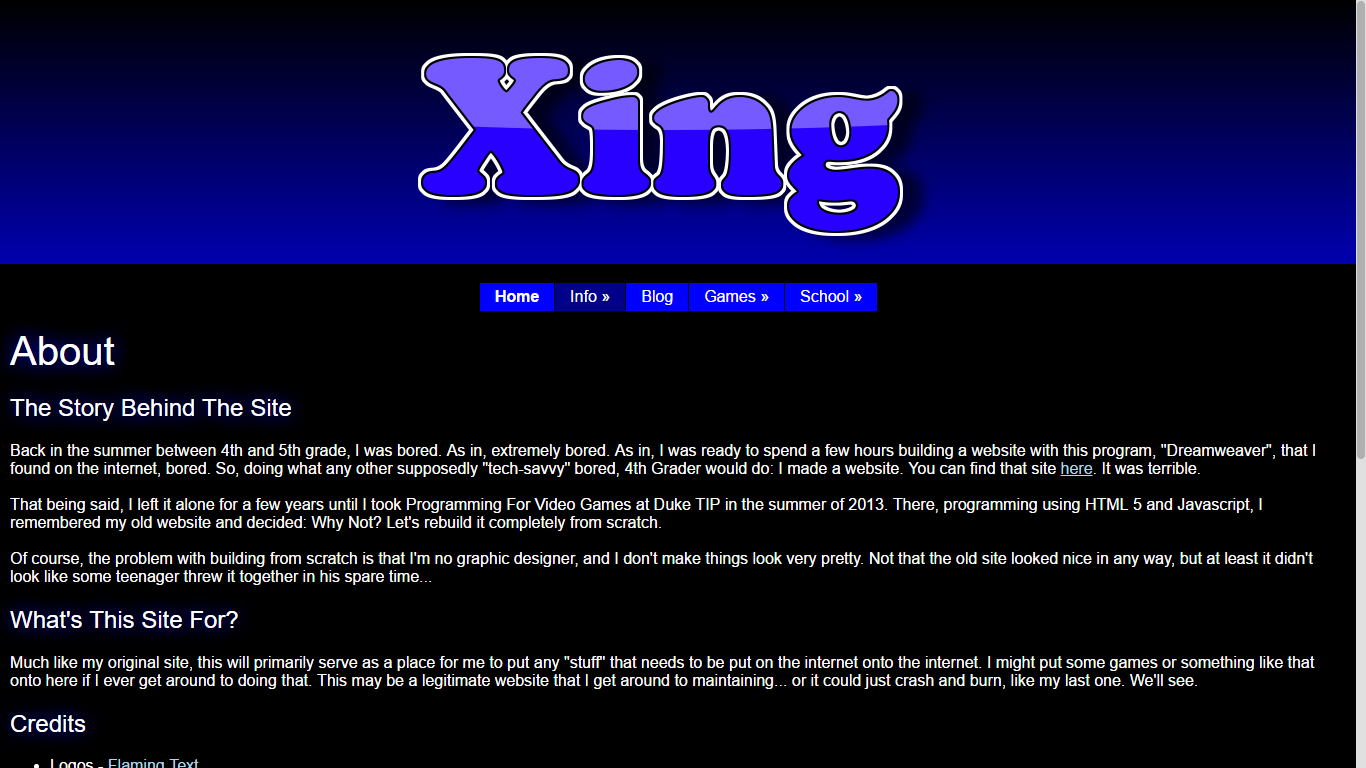 The design of the About page in the old, dark, Xing site
